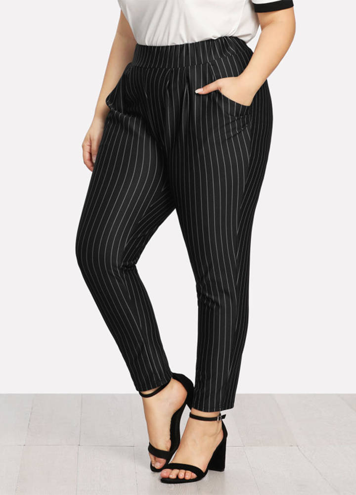 4842003cc456d Anself Women Plus Size Pants XXXl 4XL 5XL Striped Print High Waist Palazzo  Pants Pocket OL Casual Slim Skinny Trousers Black-in Pants   Capris from  Women s ...