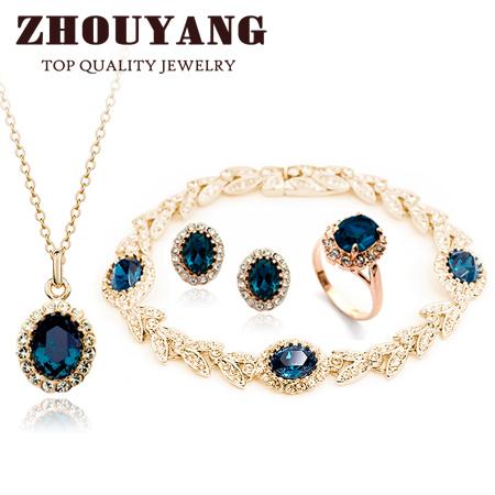 Top Quality ZYS111 Banhado A Ouro Azul Austríaco Cristal Conjunto de Jóias Com 4 Pcs 1 Nicklace + 1 + 1 Anel Brinco + 1 Pulseira