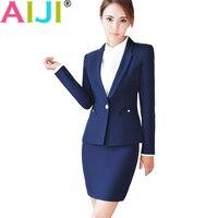 AIJI Fashion Women Business Blazer Pants Suits Formal Office Work Plus Size Slim Long Sleeve Blazer