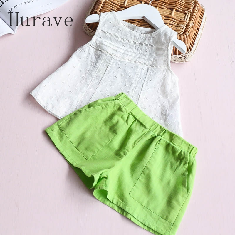 Hurave 2017 Summer Casual Style Children Baby Clothing Sets Kids Girl Hollow Out Vest Short 2PC