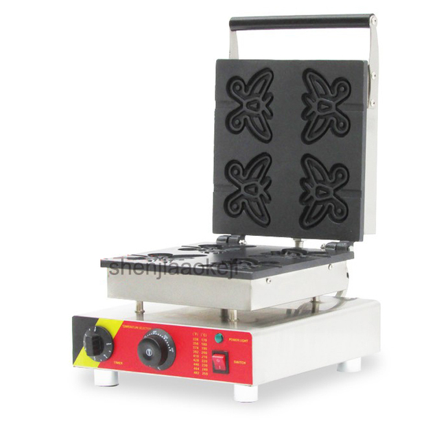 Commercial butterfly waffle maker Stainless steel butterfly-type waffle machine waffle cake oven Cookies food machine 220V/110V