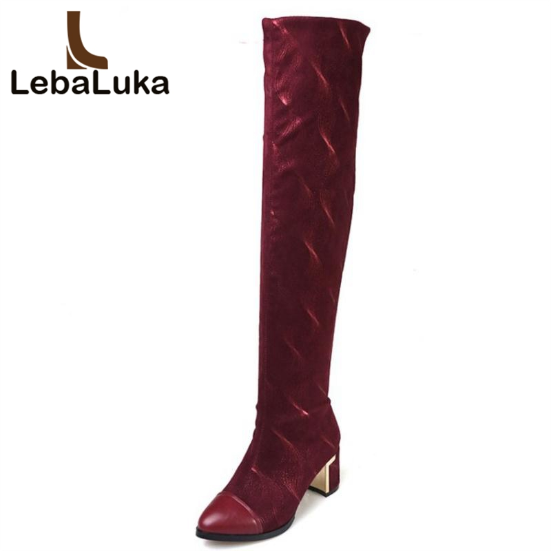 LebaLuka Women High Heels Boots Genuine Leather Winter Shoes Women Patchwork Thick Heels Fashion Over The Knee Boots Size 34-39 large size 2016 fashion genuine leather women boots thick high heels pointed toe shoes solid black over the knee boots