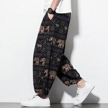 Хлопковые льняные широкие брюки с принтом, Мужские штаны для бега в стиле хип-хоп, штаны-шаровары, уличная одежда, спортивные штаны, повседневные свободные мужские брюки s
