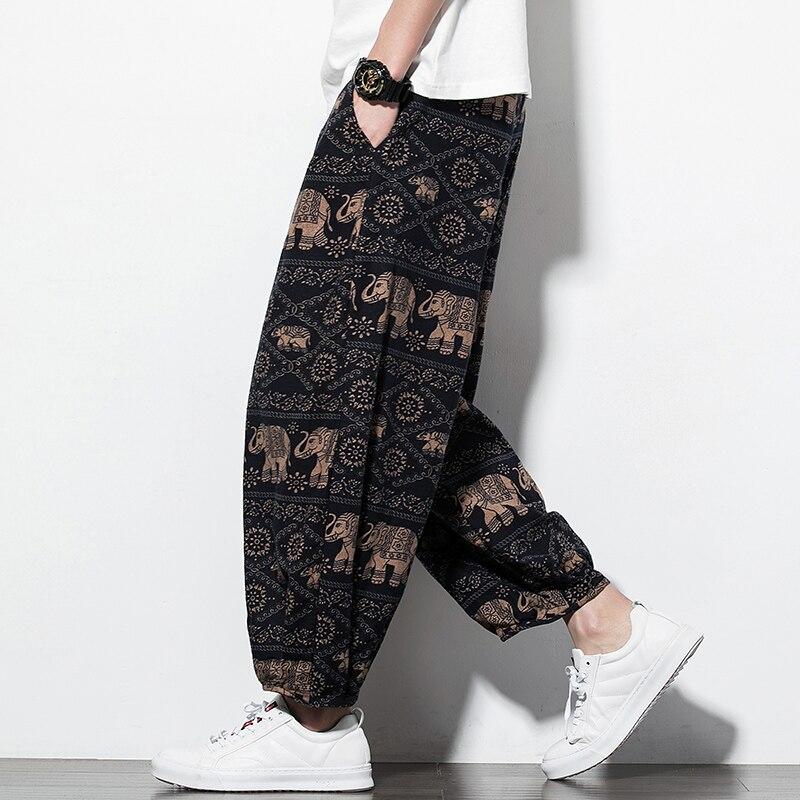 Printed Cotton Linen Wide Leg Pants Men Joggers Hip Hop Harem Pants Streetwear Sweatpants Casual Loose Mens Trousers