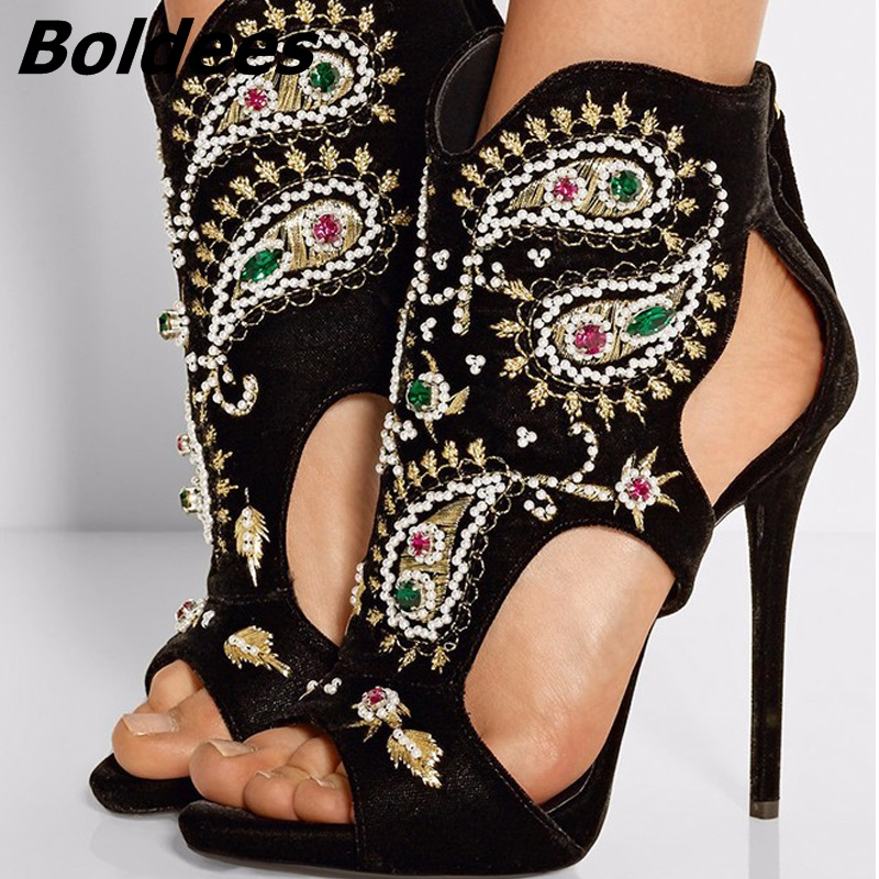 Trendy Glamorous Black Suede Embroidery Crystal Decorated High Heel Sandals Woman Cut-out Crystal Stiletto Heels Gladiator Shoes vintage embroidery decorated ring