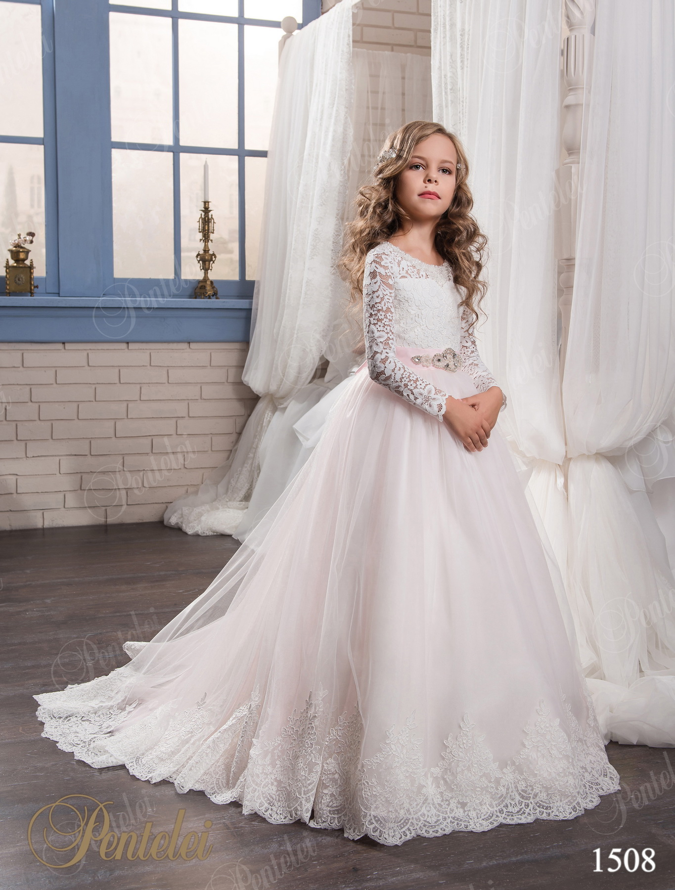 ball gown pink lace flower girl dresses for weddings 2017 tulle long sleeve girl communion. Black Bedroom Furniture Sets. Home Design Ideas