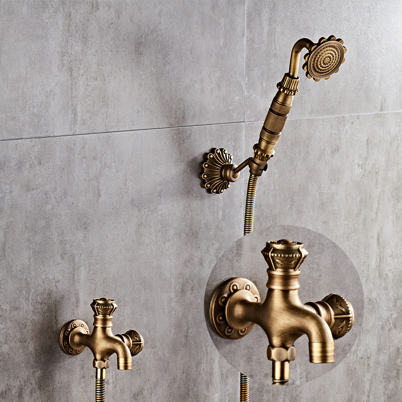 Antique Brass Bidet Faucet Wall Mounted Bathroom Shower Toilet Washing machine Faucet Cold Water with Hand shower Bracket цена