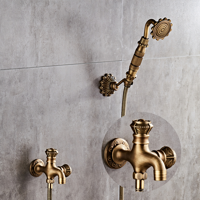 Antique Brass Bidet Faucet Wall Mounted Bathroom Shower Toilet Washing  Machine Faucet Cold Water With Hand