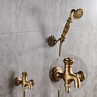 Antique Brass Bidet Faucet Wall Mounted Bathroom Shower Toilet Washing machine Faucet Cold Water with Hand shower Bracket