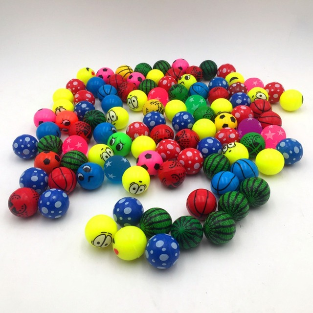 2 pcs/lot 32mm bouncing ball mixed elastic ball children's toy bouncy toys High quality