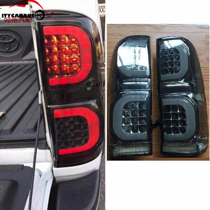 Авто аксессуары светодиодные задние фонари хвост подходят лампы для автомобиля Toyota Hilux Vigo светодиодные стоп сигналы сзади лампы черный для