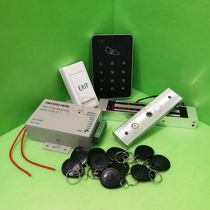 Livraison gratuite bricolage Rfid Kit de contrôle d'accès de porte avec serrure magnétique électrique + 10 RFID porte-clés carte système de contrôle d'accès complet