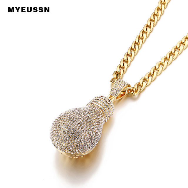Large Lamp Necklace&Pendant Iced Out Shining Men Chain Neckalce Fashion Charm Cuban chain Punk Hip Hop Jewelry gift