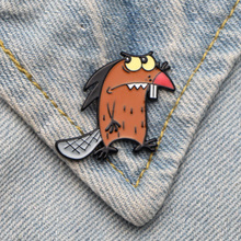 DMLSKY Angry Beavers Animal Pin Art Enamel Pins and Brooches Lapel Backpack Bags Badge Clothing Decoration Gifts M3469