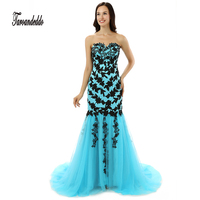 Strapless Blue And Black Lace Applique Mermaid Prom Dress Bandage Long Evening Dress Vestidos De Festa
