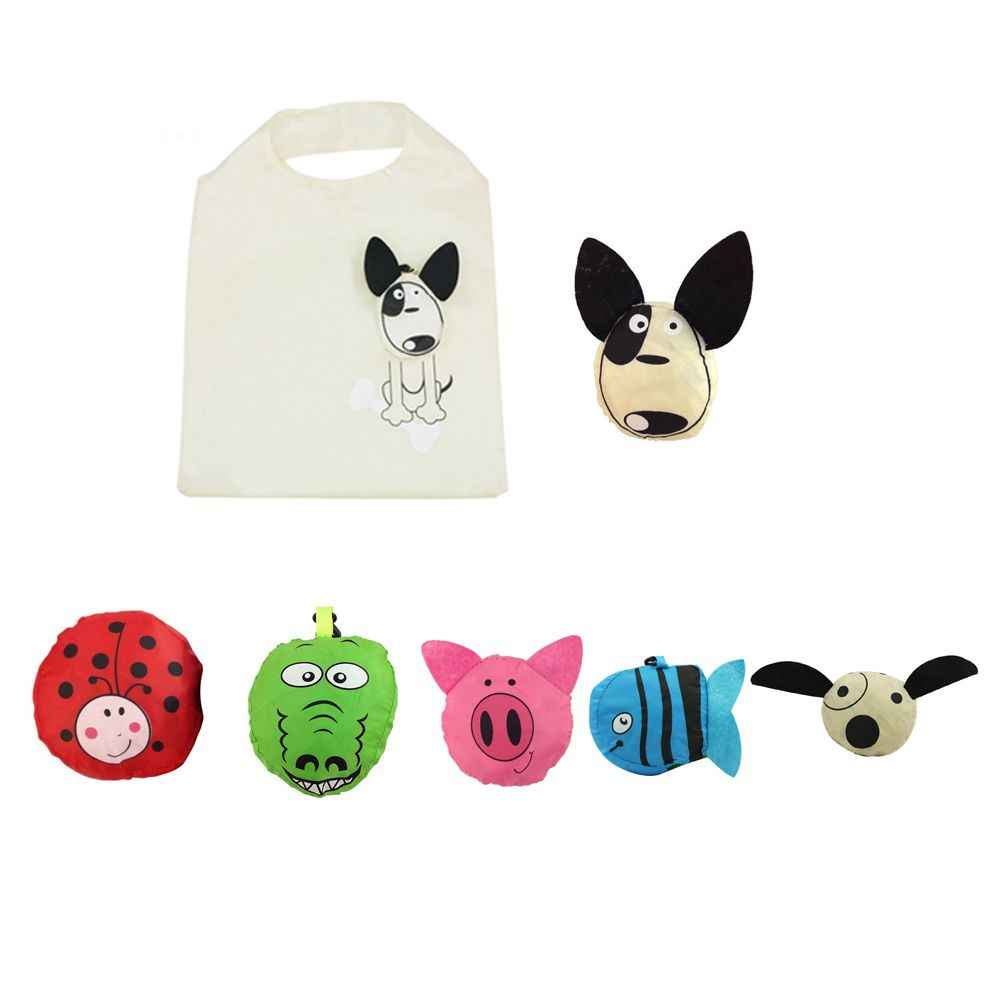 Складная сумка для покупок в форме милой собаки, экологичный подарок для дам, складная многоразовая сумка-тоут, переносная дорожная сумка через плечо