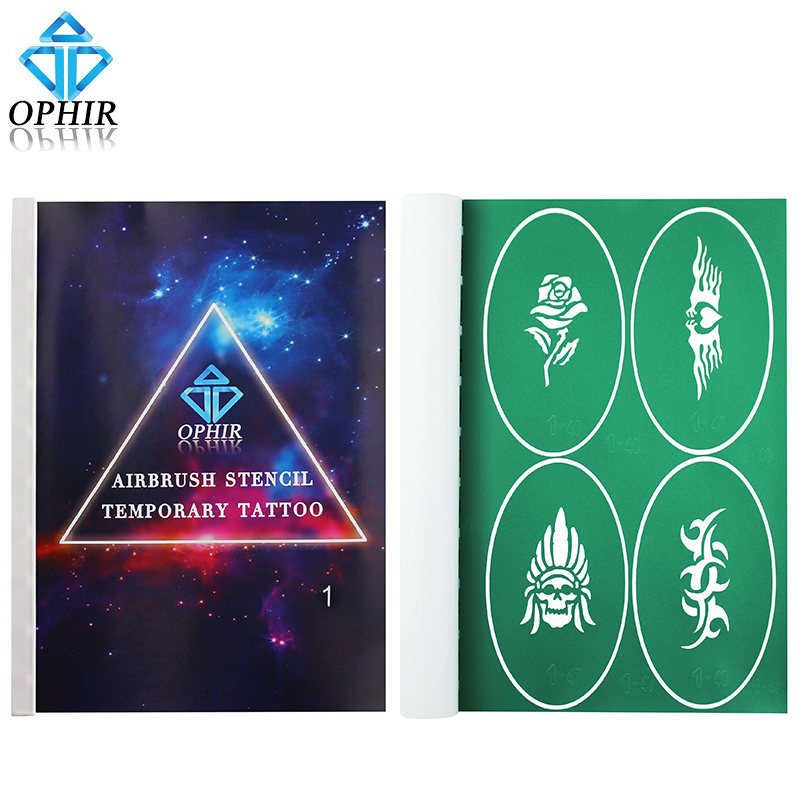 OPHIR A4 Booklet Reusable Airbrush Stencils Temporary Tattoo Art 100x Pattern Designs Airbrush Template Sheets_STE1 от Aliexpress INT