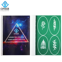 OPHIR A4 Booklet Reusable Airbrush Stencils Temporary Tattoo Art 100x Pattern Designs Airbrush Template Sheets_STE1