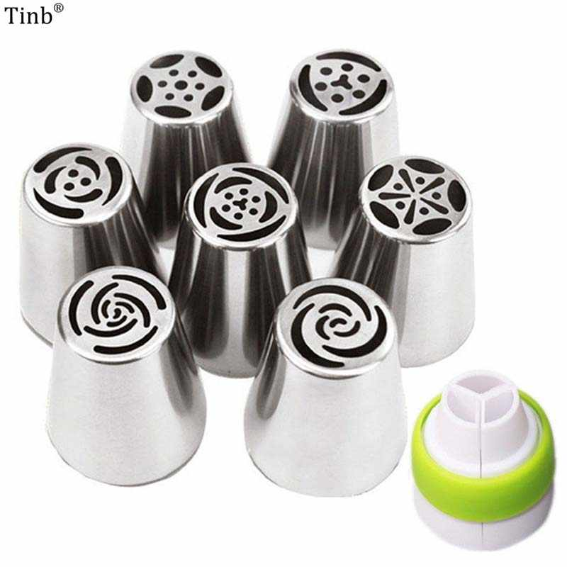 7Pc Big Russian Tulip Stainless Steel Nozzles Birthday Cake Cupcake Decorating Icing Piping Nozzles Rose Flower Cream Pastry Tip