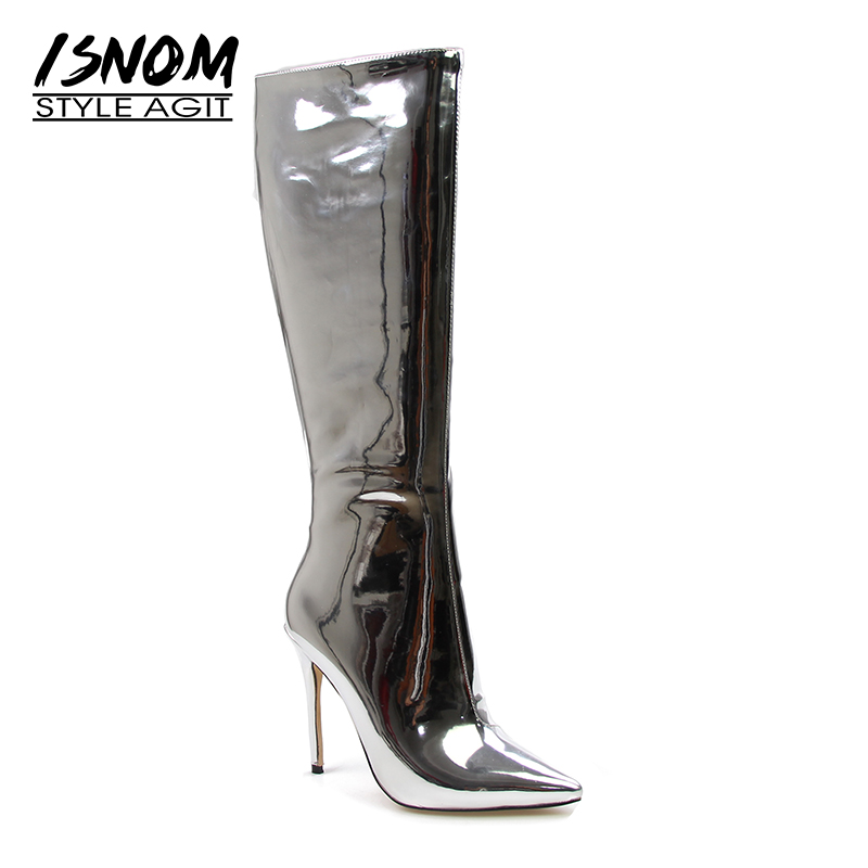 ISNOM Super Fashion Women Boots Patent Mirror Leather Brand Knee Boots Thin High Heels Pointed toe Woman Footwear 3 Styles patent leather knee high fashion women boots buckle strap cool motorcycle boots thin high heels cut outs sandals boots shoes