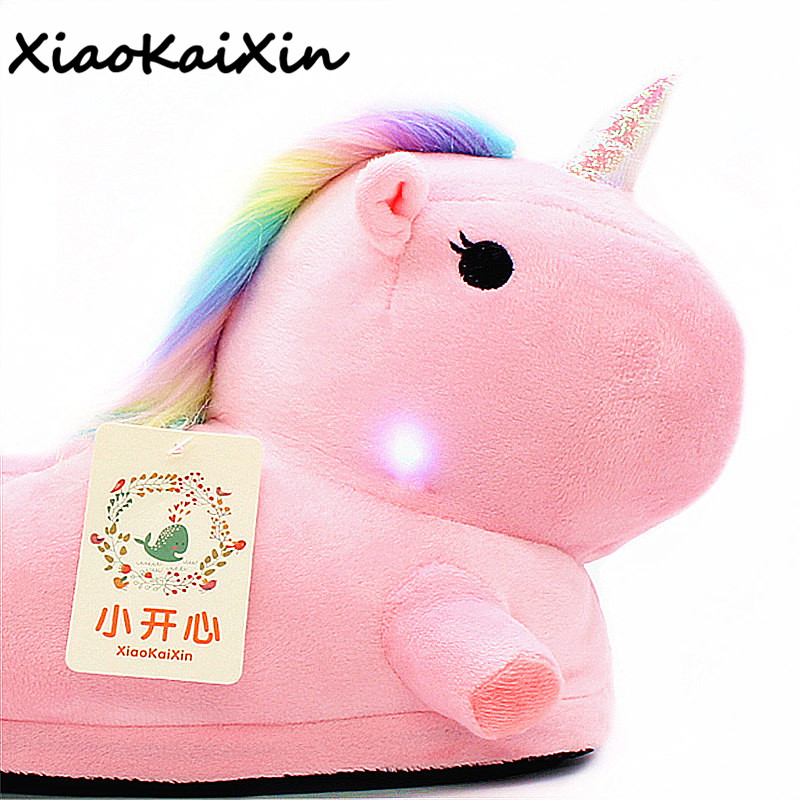 Unisex Plush Unicorn Slippers with Colored Light for Men&Women Cartoon LED Party Home Shoes Slipper Pantufa zapatillas unicornio pantufa unicornio unicorn slippers pantufa de unicornio pantofole unicorno chaussons licorne zapatillas unicornio