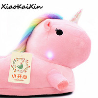 Unisex Plush Unicorn Slippers with Colored Light for Men&Women Cartoon LED Party Home Shoes Slipper Pantufa zapatillas unicornio