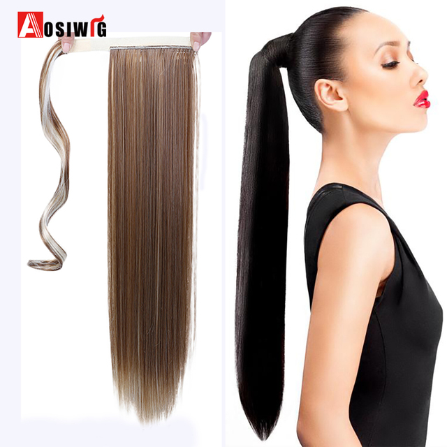 Long Straight Ponytail False Hair Extension Wrap Around Clip In Ponytail Heat Resistant Synthetic Hairpiece Pony Tail AOSIWIG 1