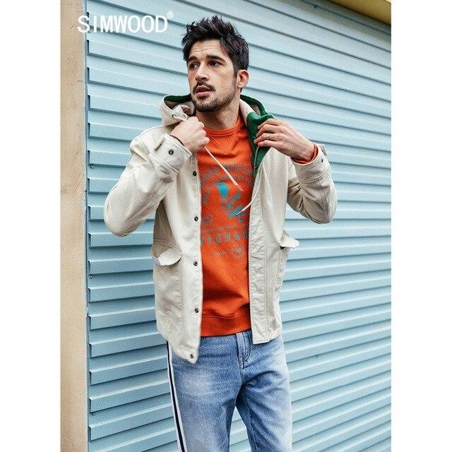SIMWOOD 2019 Spring New Fashion Jacket Men Shorts Casual Jackets 100% Cotton Coats Pocket High Quality Brand Clothing 190092