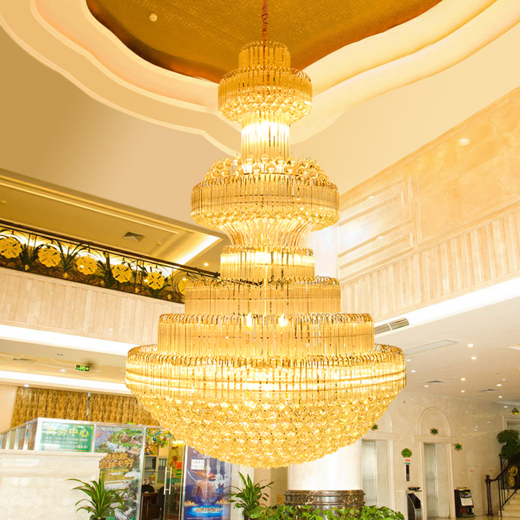 Modern chandeliers lights fixture big gold crystal chandelier led modern chandeliers lights fixture big gold crystal chandelier led lamps hotel lobby parlor clubs home indoor lighting ac90v 260v in chandeliers from lights aloadofball Image collections