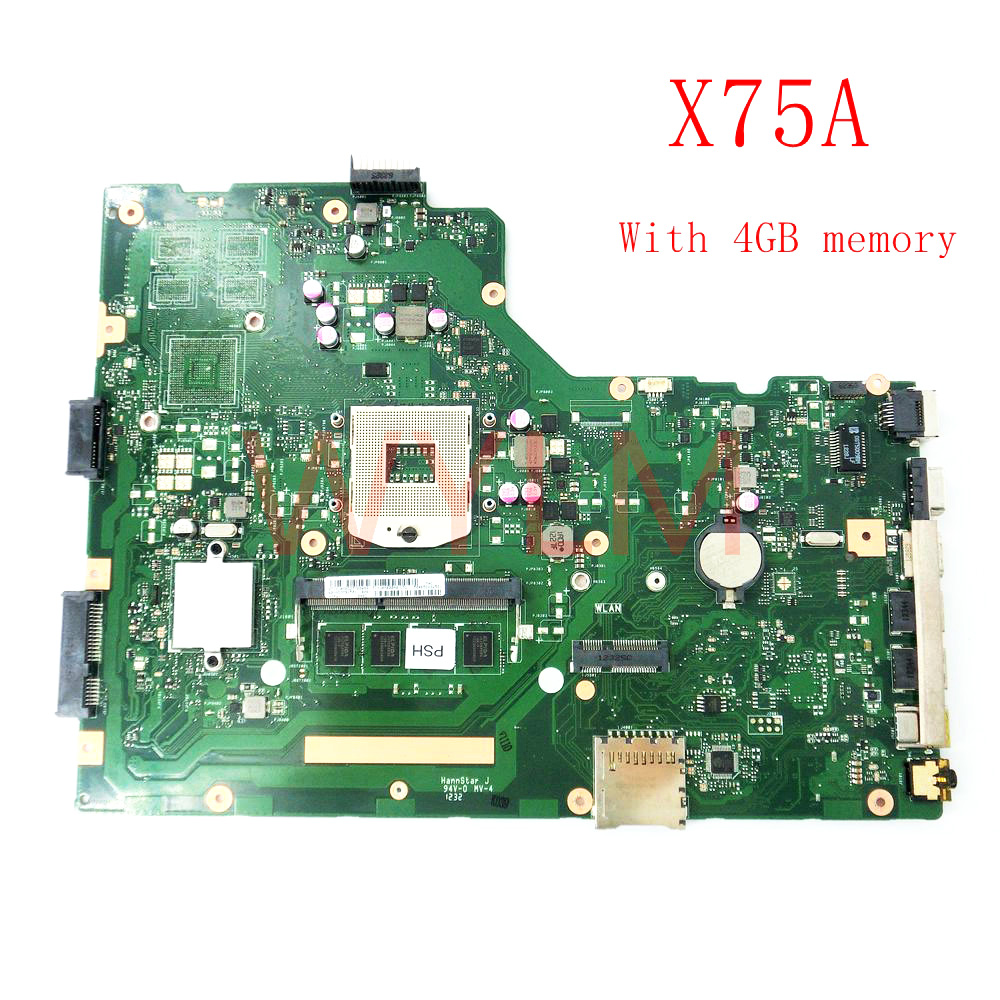 X75A 4G RAM HM76 mainboard For ASUS R704V X75VD X75A X75A1 X75V X75VB X75VC Laptop motherboard 60-NDOMB1501-B06 free shipping free shipping original x75a x75vd laptop motherboard main board mainboard 2g ram memory 100% tested working