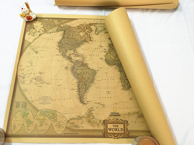 104x69cm The World Map Large Vintage Style Retro Paper Poster Home ...