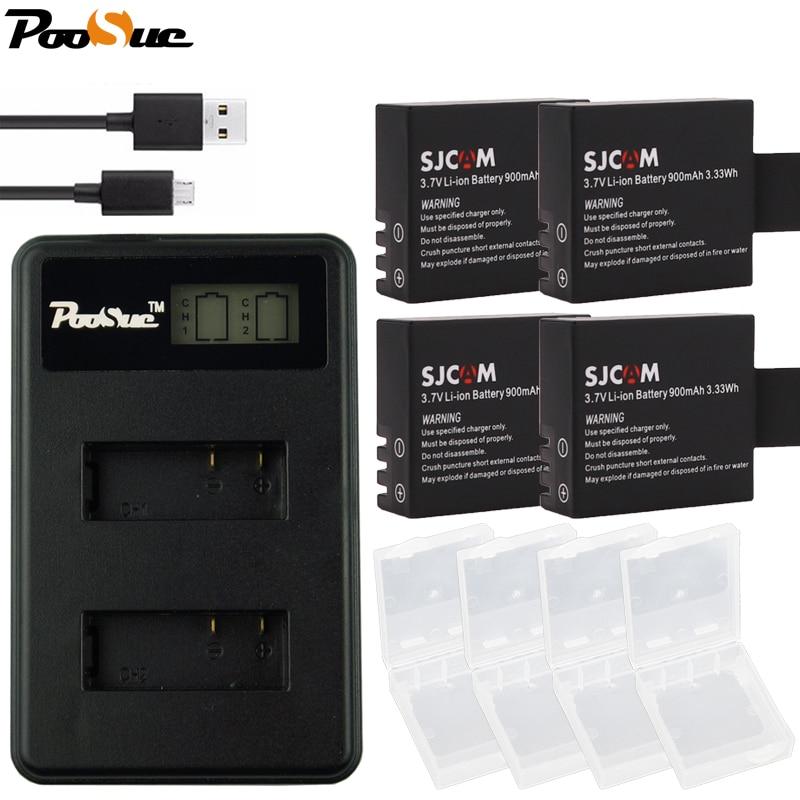 4 pcs Caméra SJ4000 SJ5000 SJ8000 Batterie + Double LCD USB Chargeur pour SJCAM SJ5000X SJ6000 SJ7000 SJ4000 Wifi M10 EKEN 4 K H8 H9