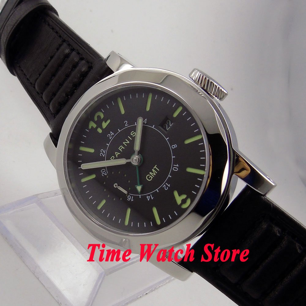 44mm Parnis GMT mens watch 707 black dial luminous sapphire glass date window ST2557 Automatic movement 44mm parnis black dial steel case sapphire glass date automatic mens watch p779