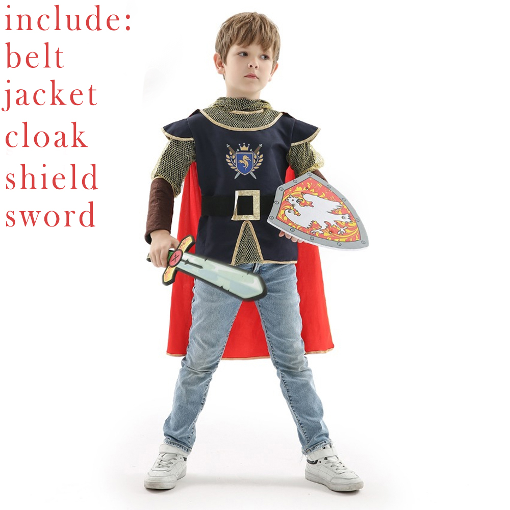 Fantasia Suit Kids Knight Warrior Prince Medieval Boy's New Year Dress Halloween Carnival Party Costume For Boys