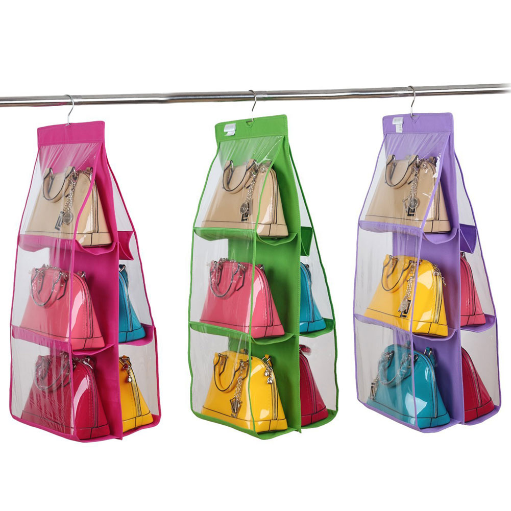 2016 Hot Pocket PVC Storage Bag Closet Wardrobe Rack Hangers Holder Fashion Handbag  Purse Pouch Bags