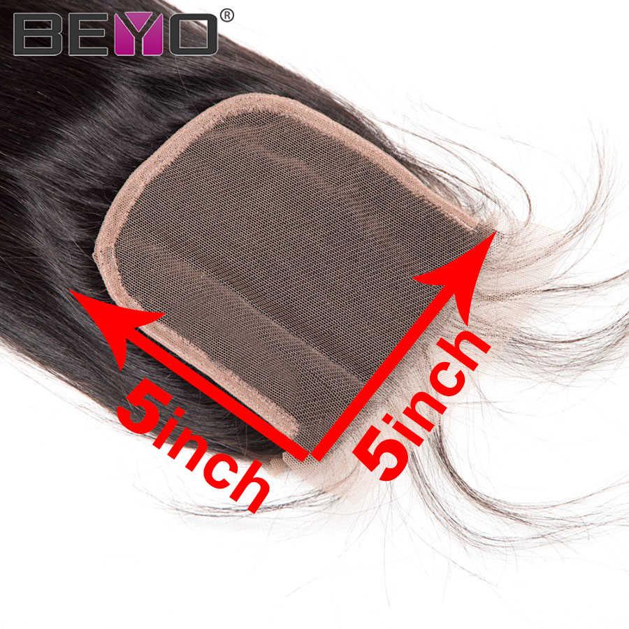 Prosto 5x5 zamknięcie koronki brazylijski włosy uzupełnienie splotu ludzkich włosów z dzieckiem włosy wolna część zamknięcie 8-20 Cal Natural Color Remy Beyo