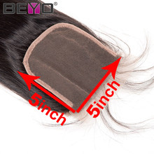 Straight 5x5 Lace Closure Brazilian Hair Human Hair Closure With Baby Hair Free Part Closure 8-20 Inch Natural Color Remy Beyo(China)