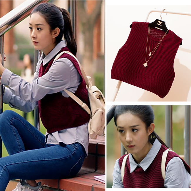 TingYiLi Women Knitted Sweater Vest Wine Red Khaki Yellow Green ...
