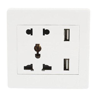 Universal White Plastic Shell 2 x USB Charging Wall Socket Plate AC 110-250V 13A 86mm universal 2 power socket wall mount plate w dual usb white 90 250v