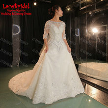 Luxury Ball Gown Cathedral Train 3/4 Sleeve Beaded Lace Flowers Diamond Rhinestone Wedding Dresses 2016 White Bridal Gowns XW160