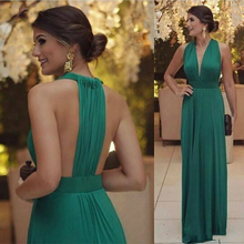 2020 Sexy Green Straight Deep Dresses Long Ruffles Sleeveless Dresses Evening Wear Formal Evening Party Gowns Robe De Soiree