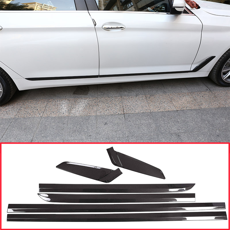 Carbon Fiber Style ABS Chrome Car Side Door Decoration Strips Cover Trim For BMW New 5 Series 2018 Car Accessories 6pcs/set yaquicka carbon fiber style 4x car interior door side panel cover strips trim for land rover discovery 5 2017 car styling covers