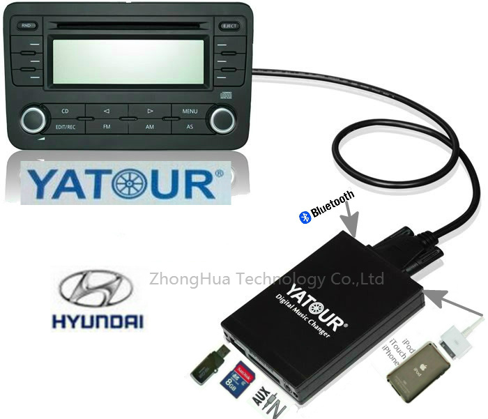 Yatour YTM07 Digital Music Car CD changer USB SD AUX Bluetooth  ipod iphone  interface for  for Hyundai Kia 8-pin MP3 Adapter yatour car adapter aux mp3 sd usb music cd changer 8pin cdc connector for renault avantime clio kangoo master radios