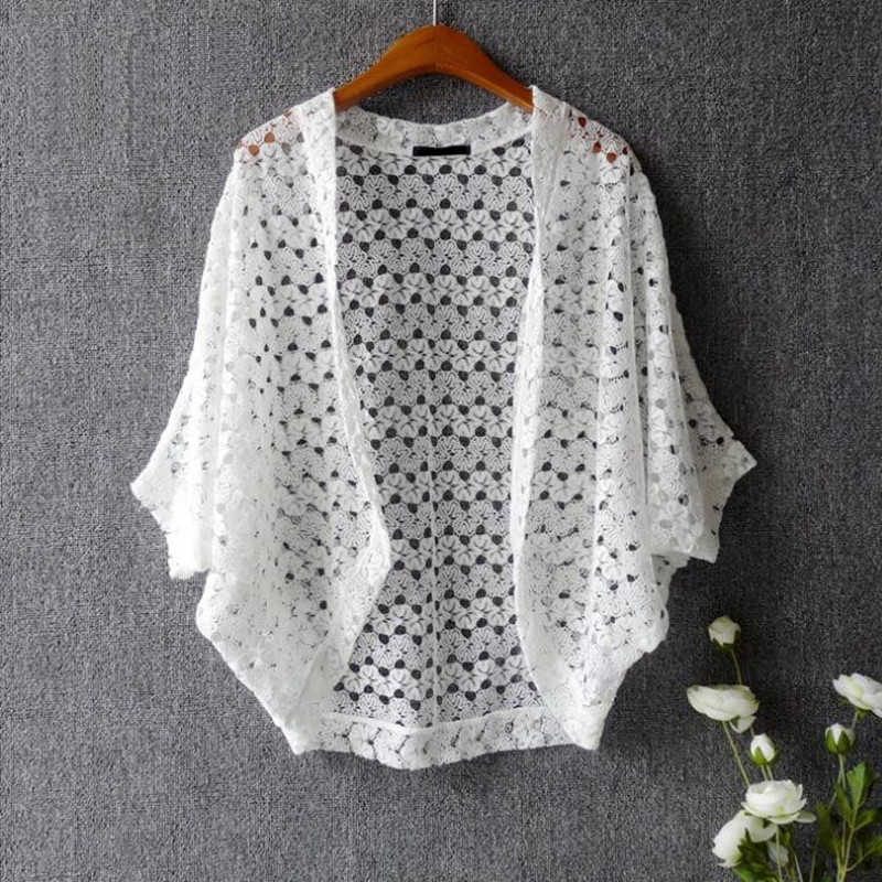 Women Lace Shrug Cute Casual V-Neck Batwing Sleeve Crocheted Hollow Out Lace Open Cardigan Solid Color Open Stitch Female Shrug