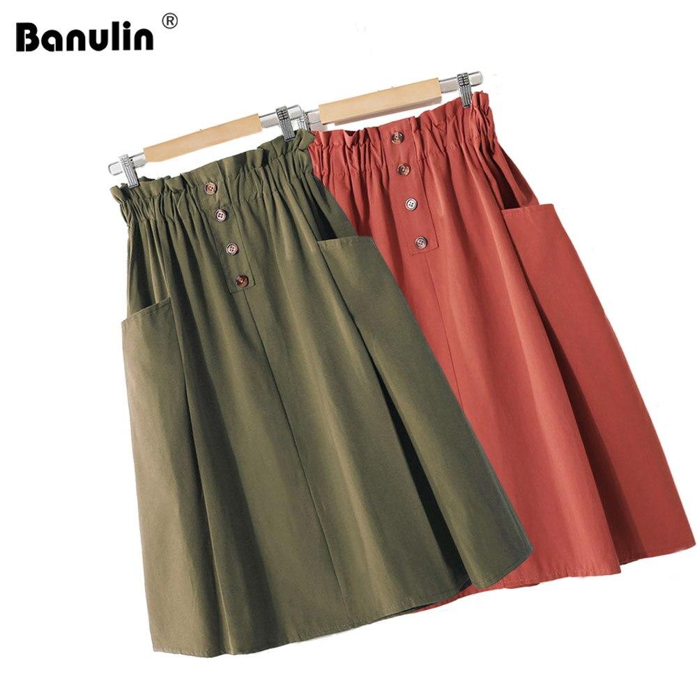 2019 Womens Skirts Elegant Button High Waist Pocket Korean Skirt Female Cotton Pleated A Line Midi Skirt Femininas Faldas Mujer in Skirts from Women 39 s Clothing