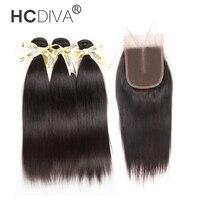 HCDIVA Brazilian Hair Straight 3 Bundles With Closure Middle Part 4 Pcs Lot Human Hair Bundles
