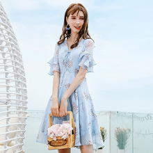 Wasteheart Summer Women Blue Chiffon A-Line Dress V Neck Printed Party Holiday Ruffles Lady Sexy Plus Size Sweet Dresses