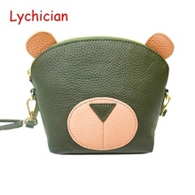 2017 hot sale women ladies  bear style shoulder bag Lychee pattern cowhide real geniune leather cute lovely feminina bag