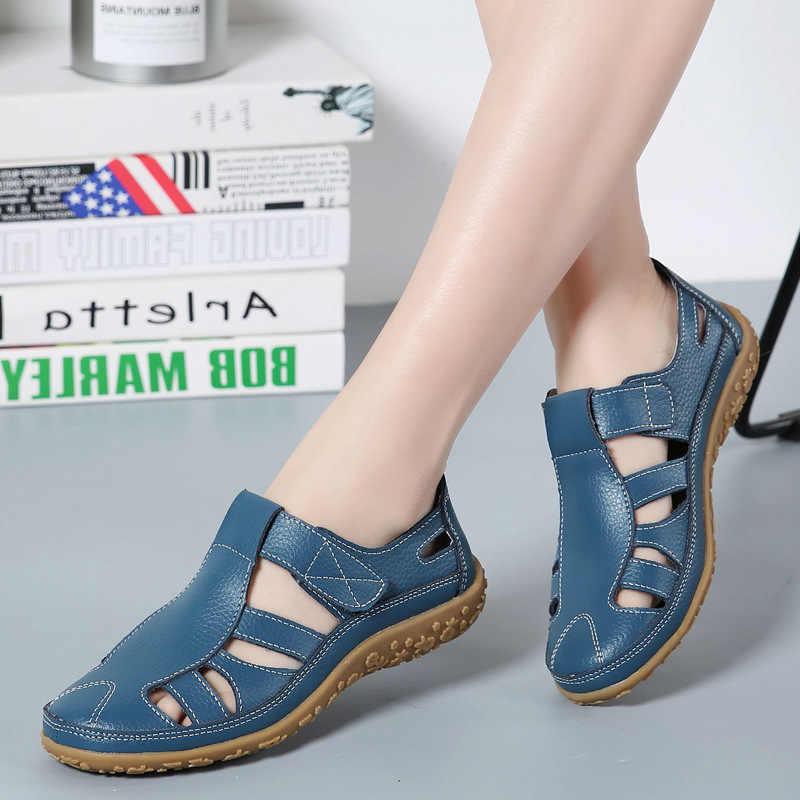 DONGNANFENG kadınlar bayanlar kadın anne hakiki deri ayakkabı sandalet gladyatör yaz plaj serin içi boş yumuşak kanca döngü LLX-9568
