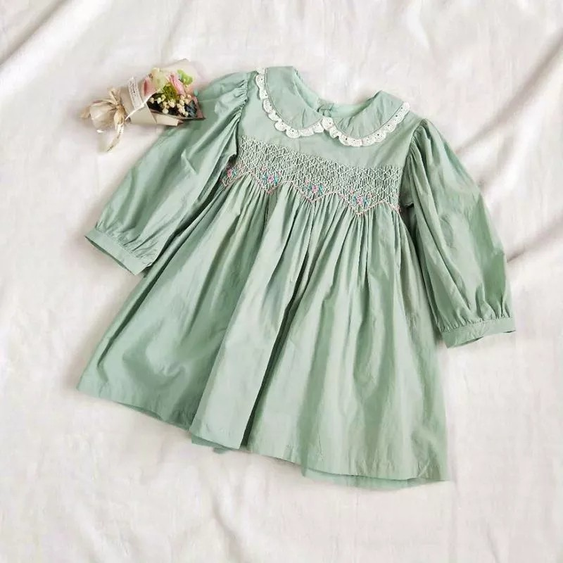 Image 2 - autumn baby smocked dress handmade green girl dresses long sleeve kids clothes fall cotton school children handmade boutiques-in Dresses from Mother & Kids